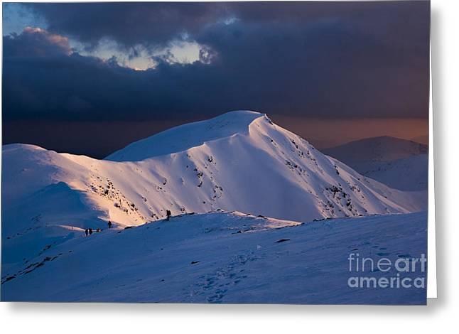 Mountain Ridge In Sunset Greeting Card