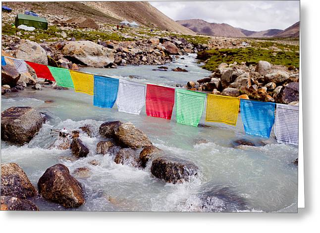 Mountain River And Buddhist Flags Lungta  Greeting Card