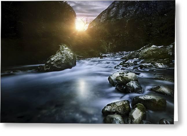 Mountain River At Sunset, Ritsa Nature Greeting Card by Evgeny Kuklev