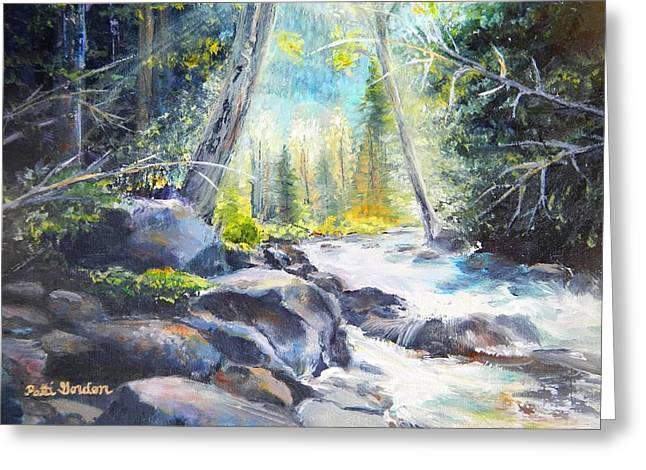 Mountain River Glow Greeting Card by Patti Gordon