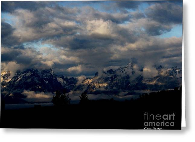 Mountain Silhouette Greeting Card by Greg Patzer