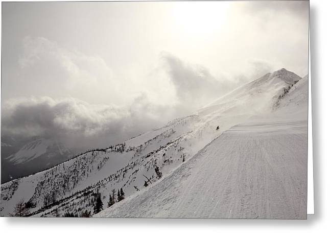 Mountain Snow Storm Approaching Ski Run Greeting Card