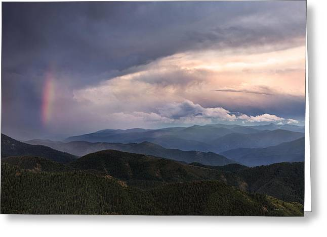 Mountain Storm And Rainbow Greeting Card by Leland D Howard
