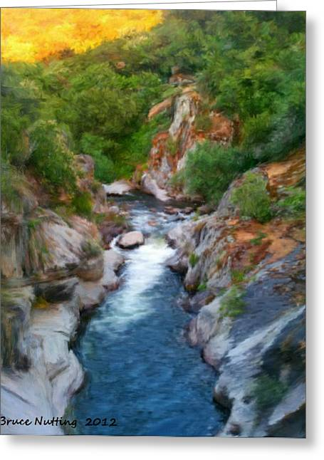 Greeting Card featuring the painting Mountain Stream by Bruce Nutting