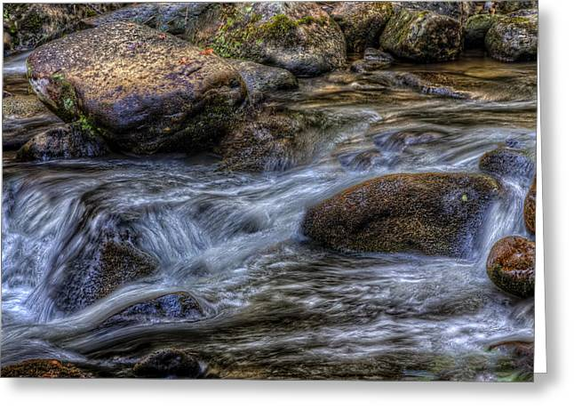 Mountain Stream On The Rocks Greeting Card