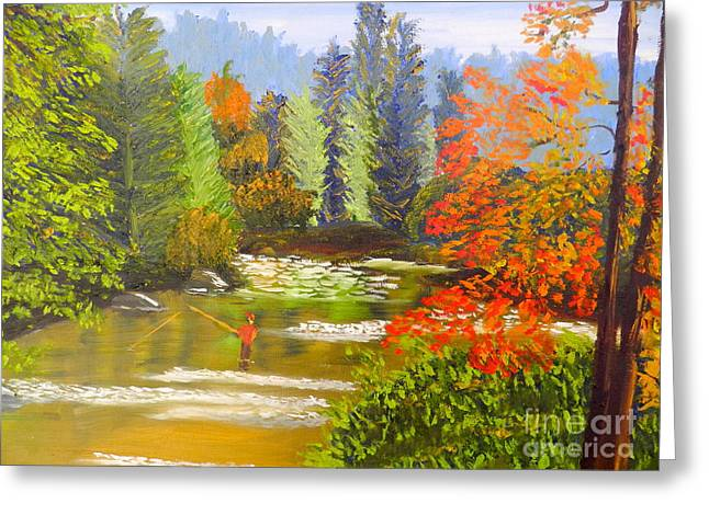 Greeting Card featuring the painting Mountain Stream by Pamela  Meredith