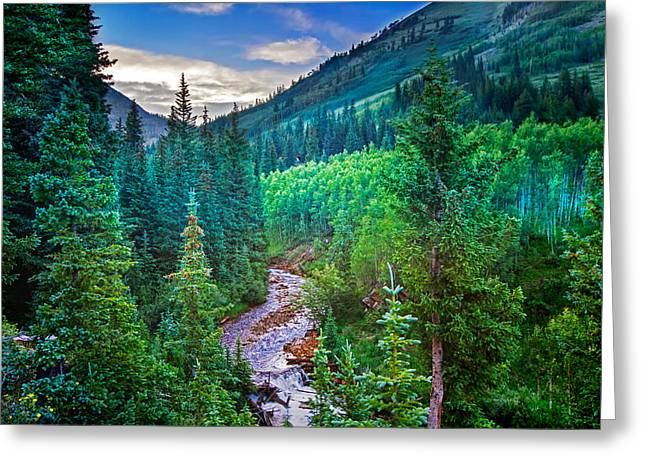 Mountain Stream Sunset Greeting Card by Mark Andrew Thomas