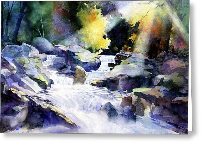 Mountain Stream Greeting Card by Tom Poole