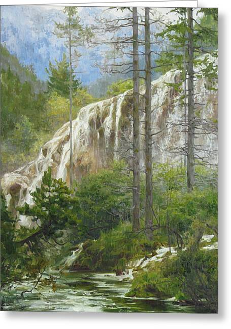Mountain Streams Greeting Card by Victoria Kharchenko