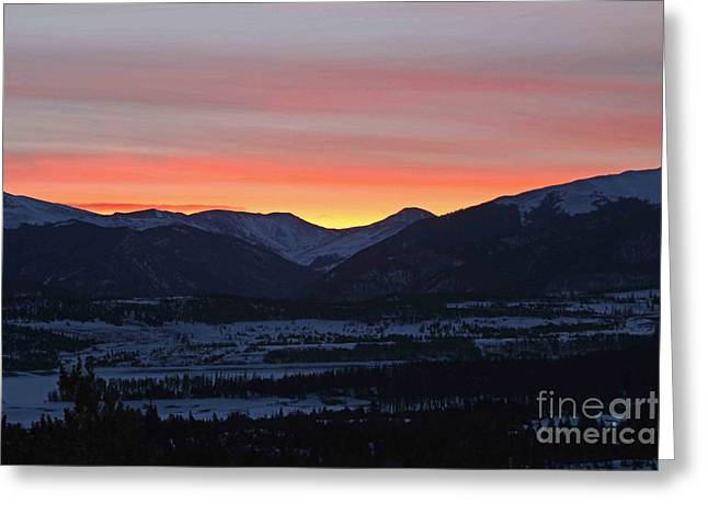 Mountain Sunrise Greeting Card by Fiona Kennard