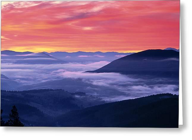 Mountain Sunrise Greeting Card by Leland D Howard