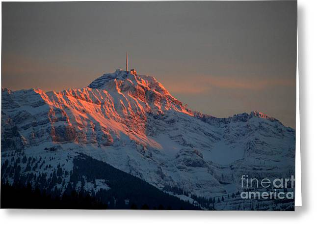 Mountain Sunset In Switzerland Greeting Card