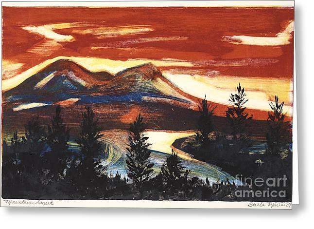Mountain Sunset Greeting Card by Stella Sherman