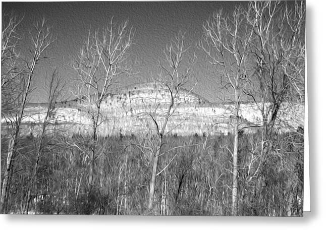 Mountain Through The Trees Greeting Card
