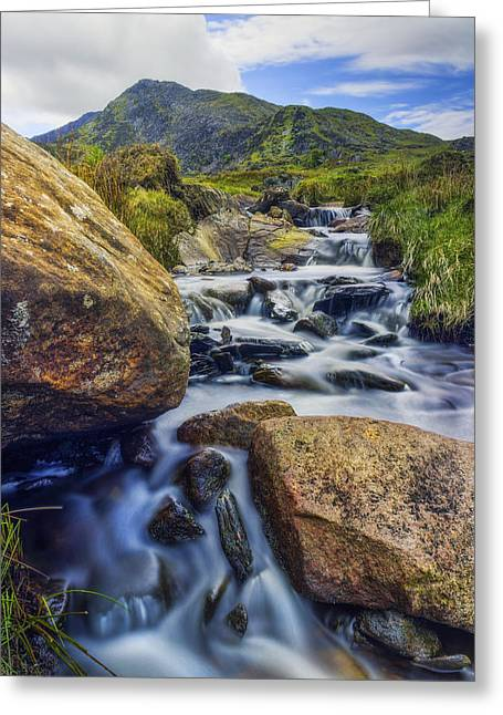 Mountain Top Stream Greeting Card by Ian Mitchell