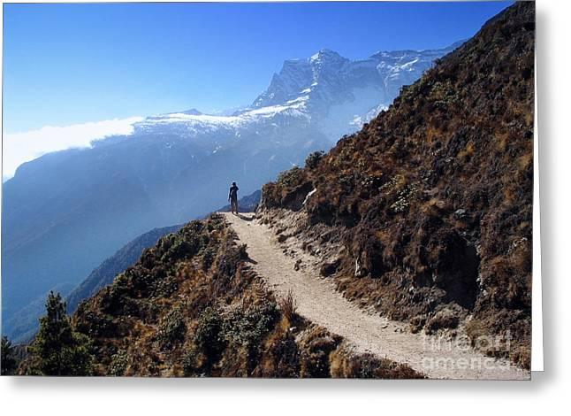 Mountain Trekker Greeting Card by Tim Hester