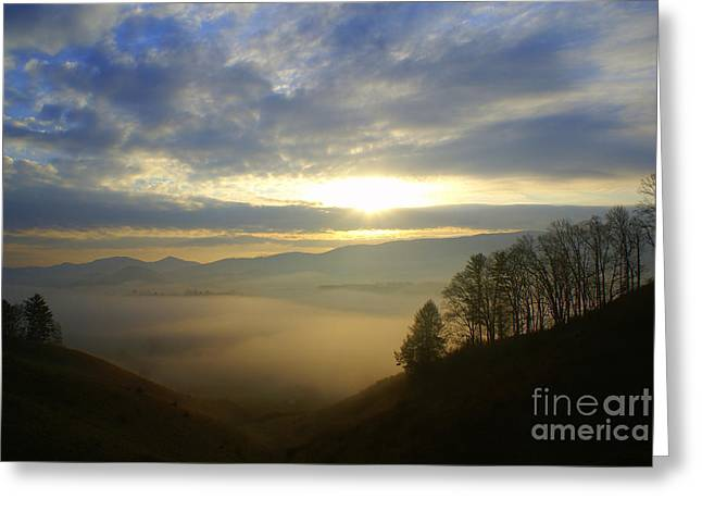 Mountain Valley Sunrise Greeting Card