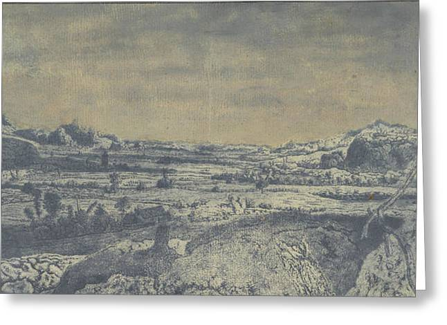 Mountain Valley With Fenced Fields, Hercules Segers Greeting Card