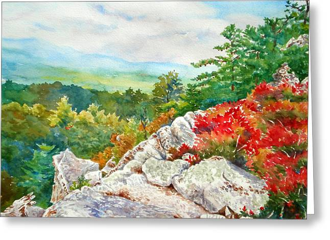 Mountain View From Rocky Cliff With Fall Colors Greeting Card by Mira Fink