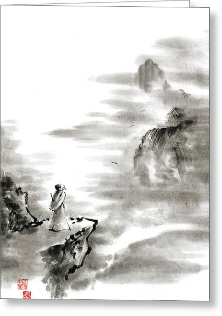 Mountain View Poet In Mountain Haiku Sky Snow And Clouds Landscape Sumi-e Original Ink Painting Greeting Card by Mariusz Szmerdt