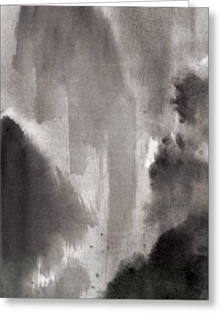 Mountain View Sky Snow And Clouds Landscape Sumi-e Original Ink Painting Greeting Card by Mariusz Szmerdt