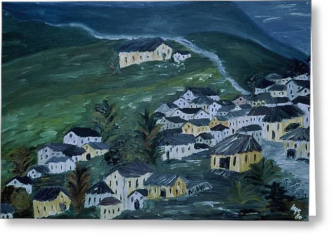 Mountain Village Greeting Card by Inge Lewis