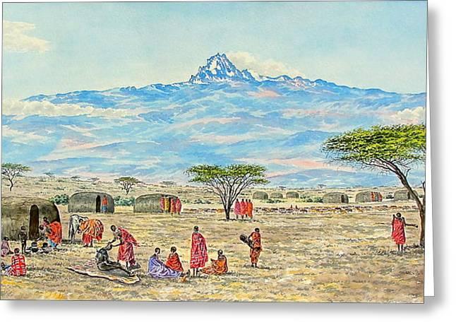 Mountain Village Greeting Card