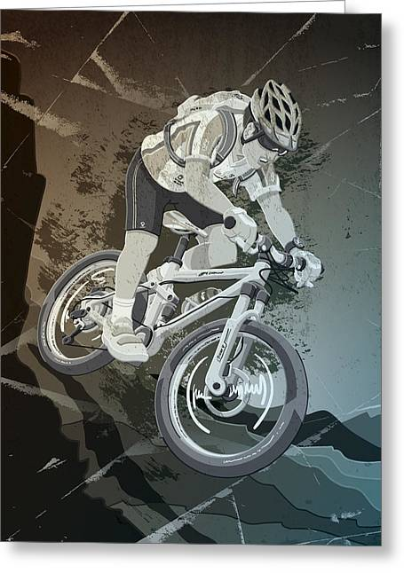 Mountainbike Sports Action Grunge Monochrome Greeting Card by Frank Ramspott