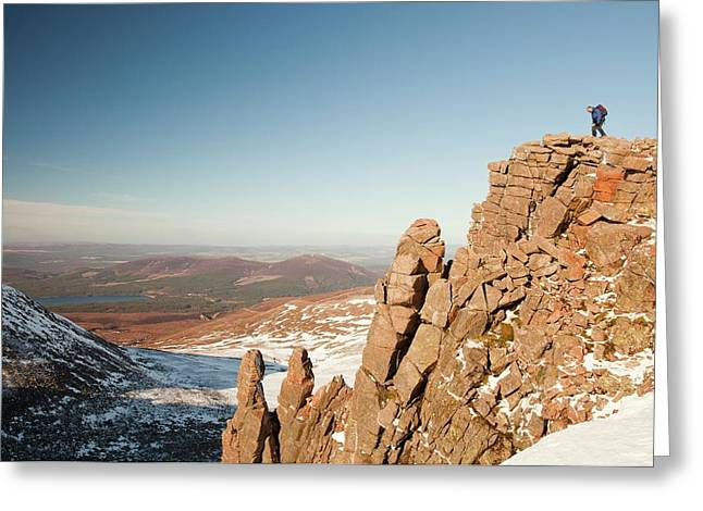 Mountaineer On A Rocky Granite Outcrop Greeting Card