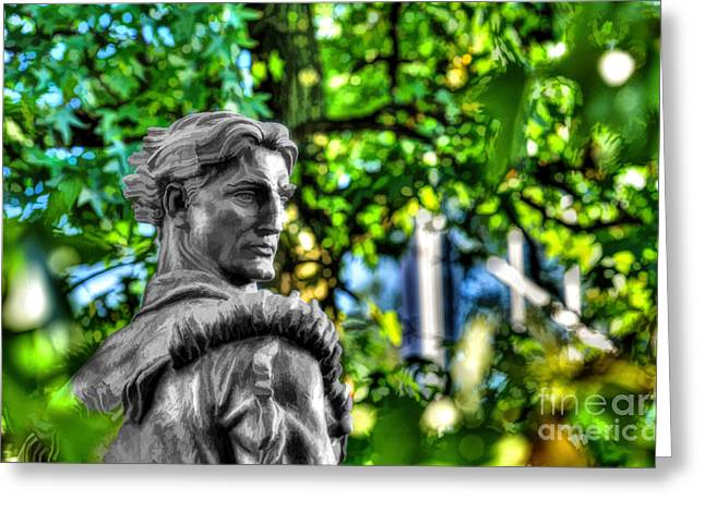 Mountaineer Statue In Trees Greeting Card by Dan Friend