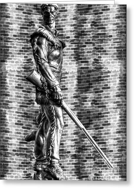 Mountaineer Statue With Black And White Brick Background Greeting Card by Dan Friend