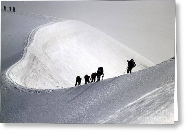 Mountaineers To Conquer Mont Blanc Greeting Card