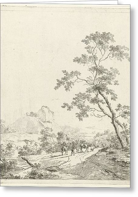 Mountainous Landscape With Shepherd And Shepherdess Greeting Card