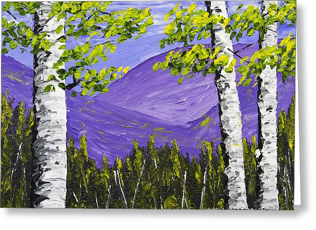 Mountains And Birch Trees In Spring Pallete Knife Painting Greeting Card