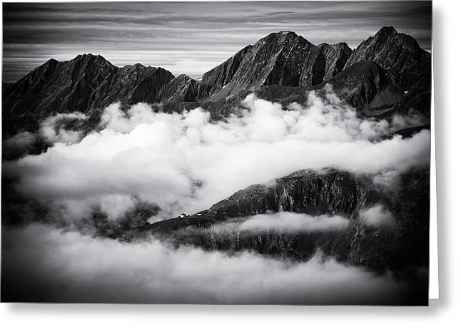 Mountains And Clouds Black And White Greeting Card by Matthias Hauser