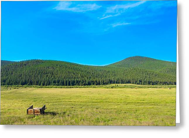 Mountains And Fields Greeting Card by Mark Andrew Thomas