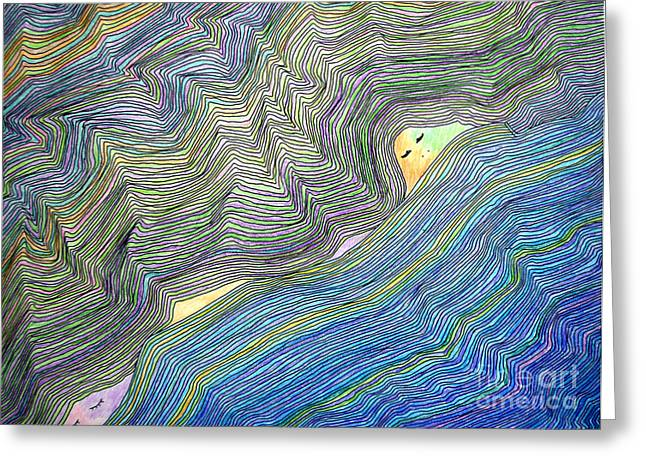 Mountains And Oceans Greeting Card by Mukta Gupta