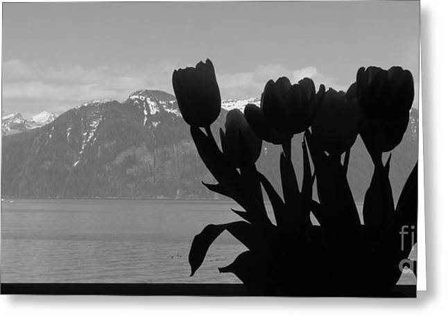 Mountains And Tulips Greeting Card by Laura  Wong-Rose