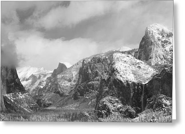 Mountains And Waterfall In Snow, Tunnel Greeting Card by Panoramic Images