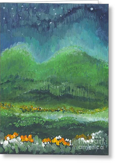 Mountains At Night Greeting Card