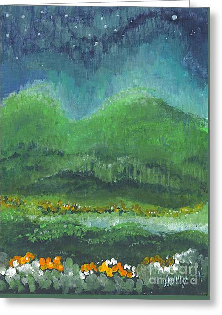 Greeting Card featuring the painting Mountains At Night by Holly Carmichael