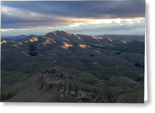 Mountains At Sunset Greeting Card by Ron Torborg