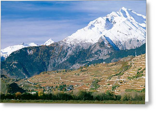 Mountains, Canton Of Valais, Switzerland Greeting Card by Panoramic Images
