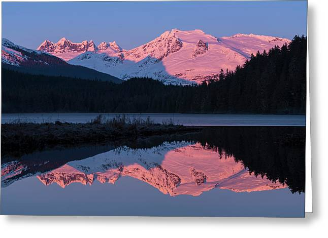 Mountains Glowing Pink At Sunrise Greeting Card by John Hyde