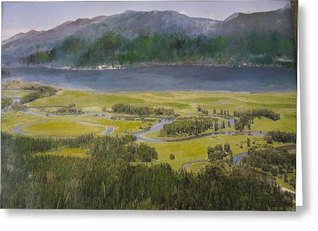 Mountains In Montana At Flathead Lake Greeting Card