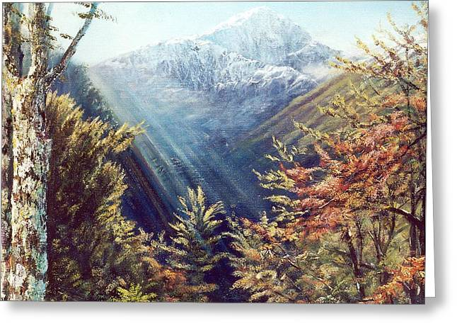 Mountains In The Mist Greeting Card by Peter Jean Caley