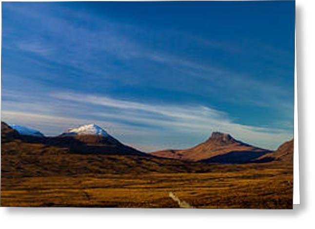 Mountains Of Assynt Panorama Greeting Card by Derek Beattie