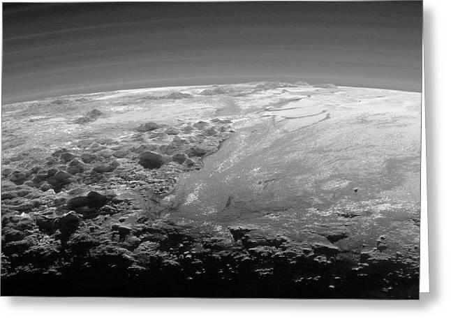 Mountains On Pluto Greeting Card by Nasa/johns Hopkins University Applied Physics Laboratory/southwest Research Institute