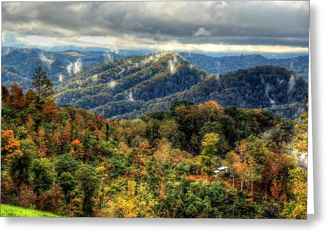 Mountains Smoking Greeting Card by Heavens View Photography
