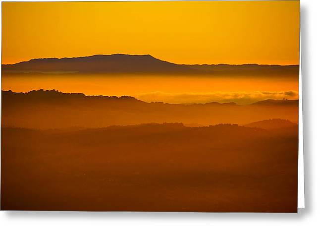 Mountaintop Sunset Greeting Card by Michael Courtney